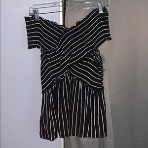 Off the Shoulder Black and White Stripped Blouse